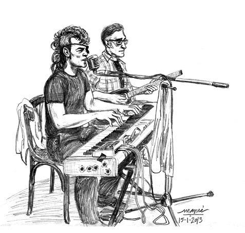Julio Lobos junto a Vidi Vidal en la Gran Bodega Saltó